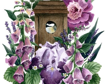 Fine Art Print of Original Watercolor Painting - Garden Home
