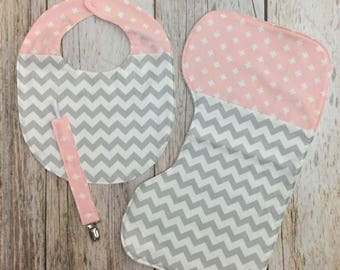 Chevron Swiss Cross Patchwork Baby Boy Gift Set - Contoured Burp Cloth, Bib, & Pacifier Clip - Pink Gray - Baby Shower Gift, Baby Girl Gift