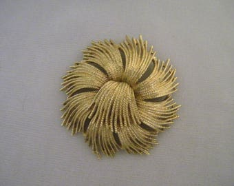 Vintage Monet Goldtone Fringe Pin Brooch 1963
