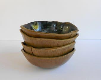 Set of 4 cereal ice cream bowls rustic pottery black glaze organic shape ceramic bowls