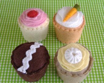 Felt Food Pattern - Four Fancy Mini Cupcakes PDF Pattern