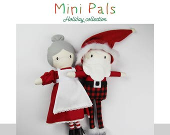 NEW Mini Pals Holiday collection SANTA  rag doll sewing pattern toy  santa mrs.claus kris kringle softie stuffed doll christmas