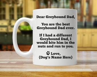 greyhound dad, greyhound gift, personalized greyhound gift, custom greyhound gift, greyhound mug, greyhound, greyhound daddy, greyhound mugs