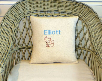 Nursery pillow, personalized pillow, baby fox pillow