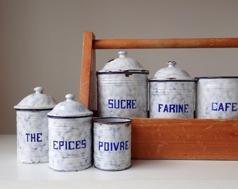 French Canisters, Vintage canister set, Graniteware canisters, Enamel Canisters, French Flea market, Rustic French canisters, Farmhouse chic