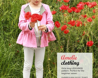 Girls LEGGINGS pattern - toddler tights sewing pattern - EASY - from 3 to 9 years