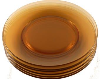 Set of 6 Fostoria Pioneer Amber 8 1/2 Inch Lunch Plates Luncheon Elegant Depression Glass Vintage Glassware Etch