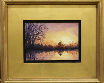 Sunrise Pond with Willow, oil painting on hardboard panel, 5x7 inches, in gold finish or satin black frame