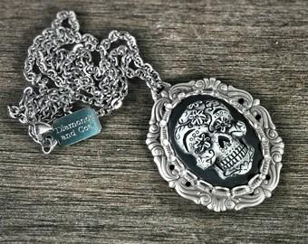 Necklace. Sugar Skull Swarovski Crystal Pendant. Unique Gift for bridesmaid Dia De Los Muertos Wedding. Calavera Jewelry.