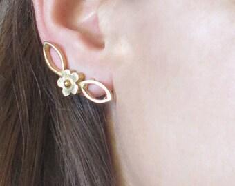 Gold Ear Climbers, Flowerd Stud Earring, Gold Ear Posts, Ear Lobe Post, Gold Earrings, Gold Plated Brass, Gold Stud Earrings, Ear Jackets