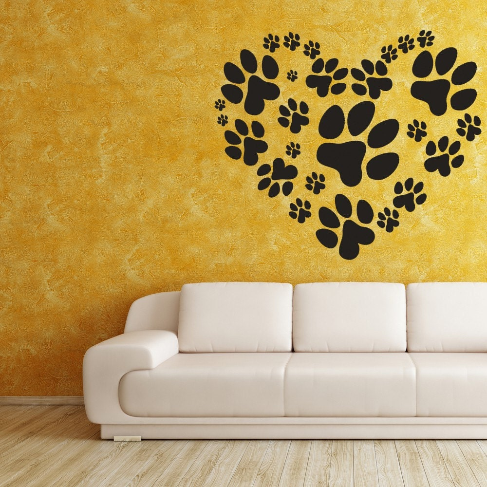 Animal Decal Heart Decal Paw Print Decal Animal Decor Paw