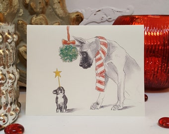 Great Dane and Chihuahua Holiday Card