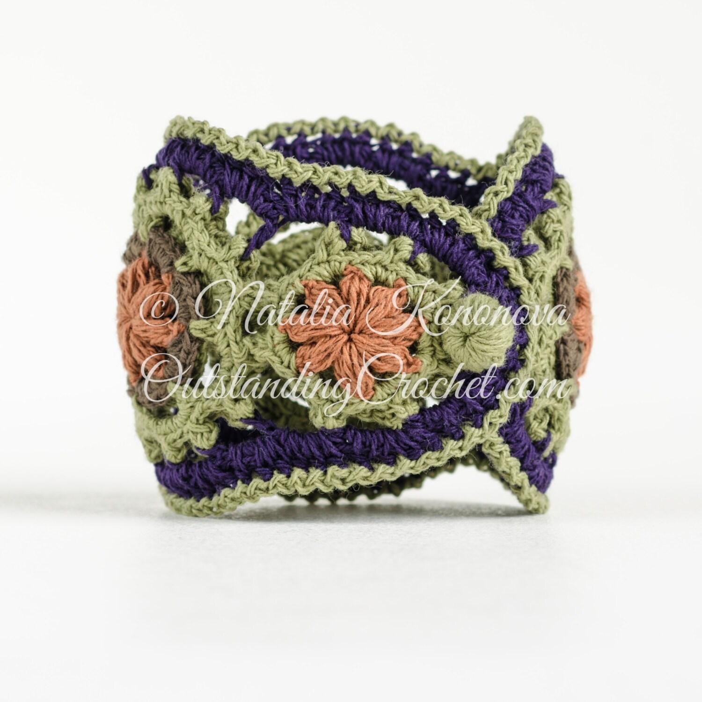 Crochet Bracelet, Headband PATTERN - Jewelry Set - Midsummer - Boho ...
