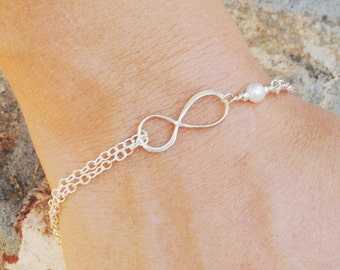 White Pearl Infinity Bracelet - Bridesmaid Gift - Mother Gift from Daughter - Sterling Silver Infinity Bracelet