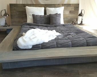 floating bed etsy. Black Bedroom Furniture Sets. Home Design Ideas