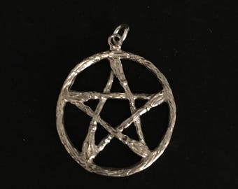 Silver-Tone Besom Broom Pentagram ~ Priced To Sell!