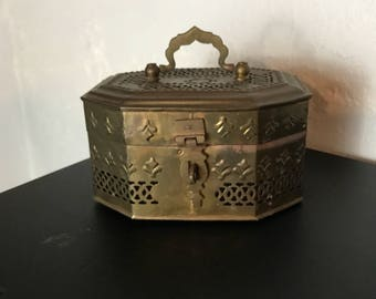 Vintage Brass Large Cricket Box Trinket Box Reticulated Hinged Lid Top Handle Hexagonal Shape 8 sides