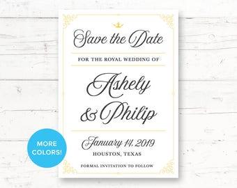 Fairytale Royal Printable Save the Date Card, Wedding Announcement, Princess, Elegant, Once upon a Time, Storybook - Custom Printable Card