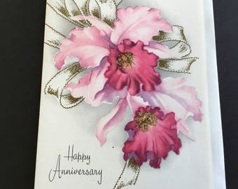 Vintage (Unused) Anniversary Greeting Card, Purple orchids, glitter