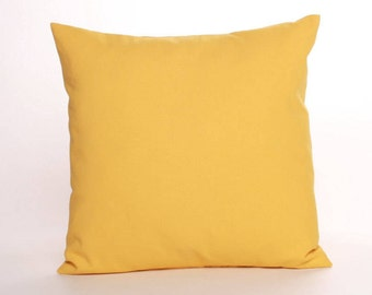 Solid Yellow Throw Pillow Cover, 16, 18, or 20 inch Cover in Premier Prints Dyed Solid Corn Yellow Home Decor Cotton