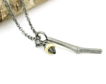 Forest Mini Talisman Tourmaline Charm Necklace Twig Pendant Nature Jewelry Branch Sterling Silver 18 karat gold