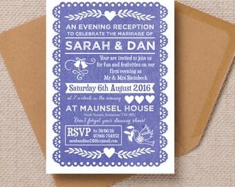 Personalised Indigo Blue Papel Picado Mexican Bunting Evening Wedding Reception Invitation with envelope