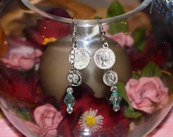 Pale green and Silver earrings for pierced ears