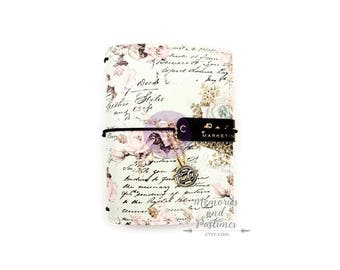 My Prima Travelers Journal - Traveler's Notebook - Travel Notebook - Passport Size Planner - Minty Dreams - Vintage Floral Cover - 357977
