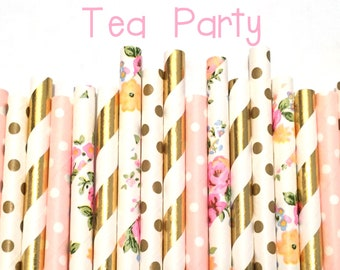2.85 US Shipping -Floral Paper Straws - Gold foil and Pink and Flower Straws - Cake Pop Sticks - Drinking Straws - Blush Pink