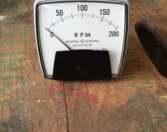 Vintage RPM Gauge from 1960s-70s Made by GE Steampunk