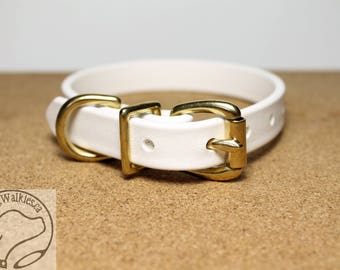 """Snow White Biothane Dog Collar - 5/8"""" (16mm) wide - Leather Look and Feel - Small Dog Collar - Solid Brass or Stainless Steel Hardware"""