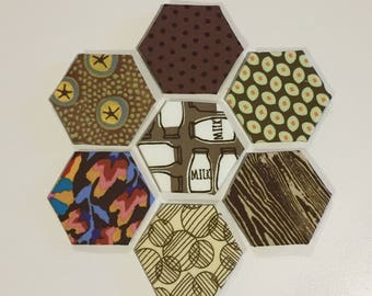 1 inch finished hexagons english paper piecing- brown