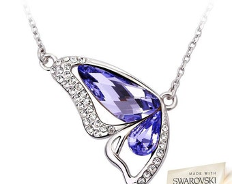 Silver Butterfly Pendant Necklace With Swarovski Crystal Elements Best Gift For Your Loved One Gift Box & Tag Included