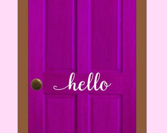 Hello Vinyl Decal, Door Decal, Front Door Decal, Vinyl Decal, Wall Decal, Hello Wall Decal, Vinyl Wall Decal, Wall Decor, Vinyl Wall Decor