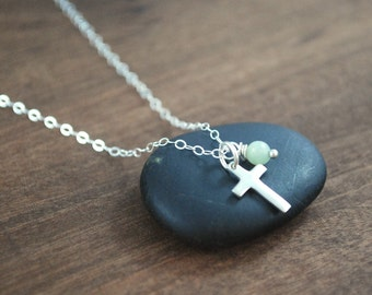 Cross + Amazonite Sterling silver necklace very delicate dainty Layering necklace crucifix gemstone necklace Amazonite 925 simple necklace