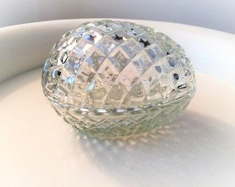 Vintage Pressed Glass 2 Piece Egg Shaped Candy Dish Candy Jar Trinket Box