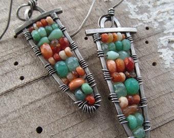 Long Beaded Gemstone Earrings Silver Colorful Gemstone Earrings Long Wire Wrapped Earrings Rustic Dangle Earrings Green Orange Earrings