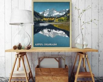 Aspen Colorado, Mountain Home Decor, Canvas Illustration, Vintage Poster, Canvas Print, Canvas Wall Decor, Colorado Wall Decor, Canvas Art