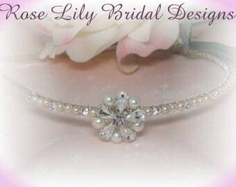 Mellisa  -  Glass pearl and diamante tiara