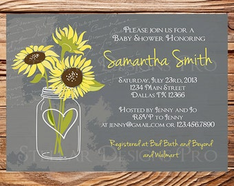 Sunflowers baby shower invitation rustic vintage mason jar you may also like sunflower mason jars baby shower invitation filmwisefo