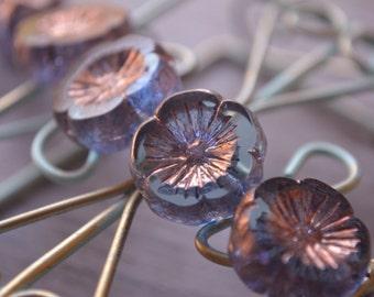 6 Blue Hawaiian Carved Flower Beads 14mm- Czech Picasso Beads (455-6)