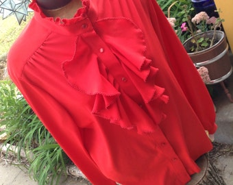 Vintage hipster kitsch 60s Marti Modes of New York red secretary blouse with ruffle size large free domestic shipping