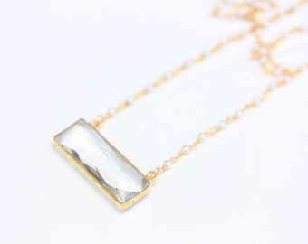 Crystal Bar Necklace, Pearl Chain Necklace, Clear Necklace, Clear Stone Necklace, Quartz Necklace