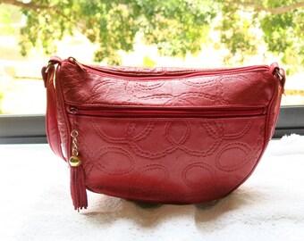 Vintage Red Chain Embossed Crossbody Sling Bag, Medium, 1980s