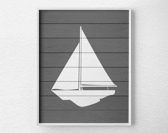 Nautical Sailboat Art, Sailboat Decor, Nautical Bathroom, Rustic Nautical Print, Sailboat Print, Nautical Decor, Nautical Nursery, 0452