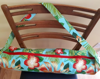 Tropical Yoga Mat Bag,  Outdoor Fabric, Hibiscus flowers and Palm Leaves, Yoga Mat Carrier,  Pocket for keys/cell phone, Mother's Day Gift..