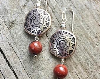 Silver Earrings, Silver Jewelry, Red Earrings, Southwestern Earrings, Red Jewelry, Silver Dangle Earrings, Silver Drop Earrings