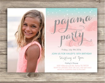 Sleep Over Pajama Party Birthday Invitation Template Birthday Rustic Slumber Pancakes teen tween Boho Ombre Party girl Invitations NV7784