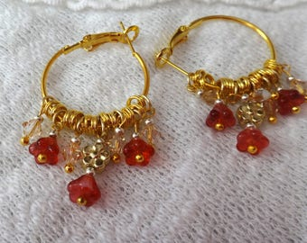 Gold tone three red flower beads and Swarovski crystal beads hoop earrings