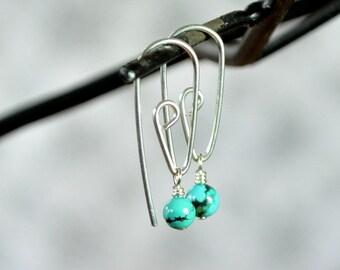 Turquoise Earrings, Threader Earrings, Spiral Earring, Gemstone Drop Earrings, Turquoise Jewelry
